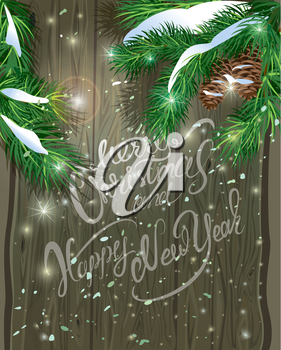 Old Wooden background with painted holiday typography, Christmas fir tree branches  and snow. Merry Christmas and Happy New Year calligraphy.