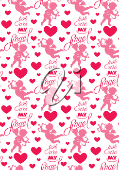 Seamless pattern with silhouettes of angel and heart, calligraphic text You are my Angel. Happy Valentine s Day pink background, Love concept.