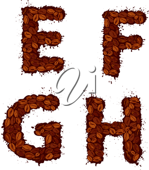 EFGH, english alphabet letters, made of coffee beans, in grunge style, isolated on white background