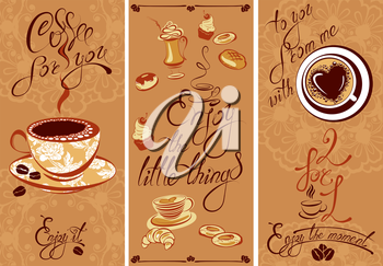 Set of Template Flayer or Menu design for coffeehouse. Background for restaurant or cafe. Hand written calligraphic text Enjoy the moment, Coffee for you, etc.