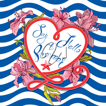 Seasonal Card with frame in heart shape and orchid flowers on paint stripe blue and white background. Calligraphic handwritten text Say hello to Summer.