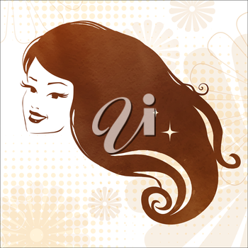 Portrait of a young woman with perfect hair. Vector illustration.