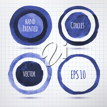 Hand drawn inky banners. Vector EPS 10. Isolated.