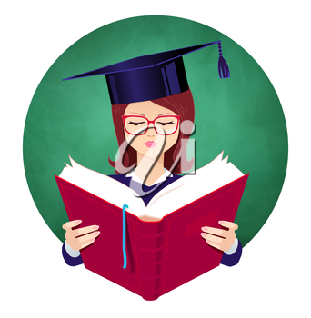 Girl wearing graduation hat reading book on chalkboard background. Vector illustration.