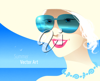 Girl wearing sunglasses. Vector EPS 10.