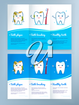 Dental care leaflet design with cute tooth characters. Vector illustration.