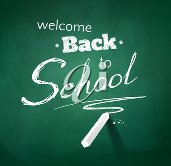 Back to school typographical background with green chalkboard texture. Vector illustration.