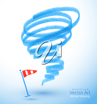 Felt pen drawing of storm. Vector illustration. isolated.