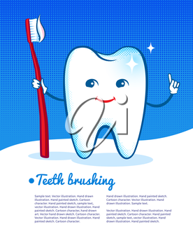 Vector illustration of happy and shiny cartoon tooth character with toothbrush.