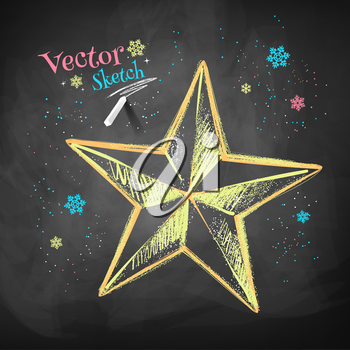 Color chalk vector sketch of Christmas star on black chalkboard background.