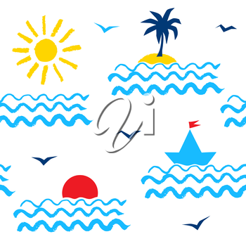 Retro 1980s styled summer seaside vacation seamless pattern with sea, sun, palm tree, yacht and seagulls.