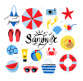 Vector seaside top view illustrations set with Summer word lettering on white background.
