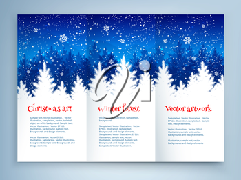 Christmas leaflet design template with winter spruce forest landscape and falling snow.