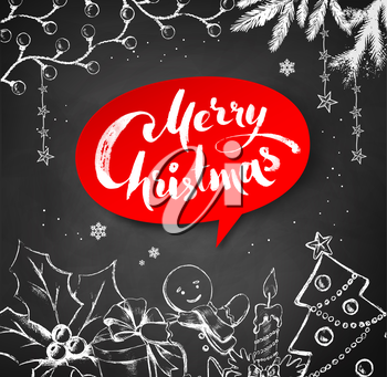 Chalk drawn vector Christmas illustration of traditional festive objects and red banner with lettering.