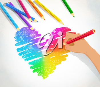 Top view vector illustration of hand drawing rainbow heart with color pencils on paper background.