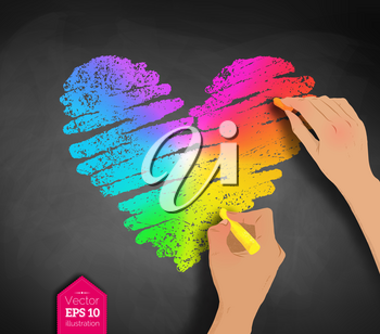 Vector sketch of hands drawing rainbow colored heart with chalk on blackboard background.