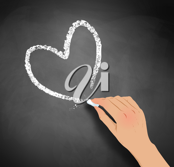Vector illustration of hand drawing heart with chalk on blackboard background.