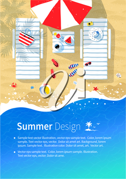 Summer vacation flyer design with top view illustration of sun beds, parasol and seaside accessories on beach sand background with sea surf.
