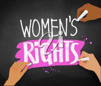Vector illustration of three female hands writing Women Rights slogan with chalk on blackboard background.