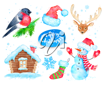 Watercolor illustrations collection with Christmas and winter symbols.