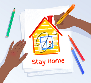 Stay Home concept. Vector illustrationof african american hands drawing picture of house on A4 paper.