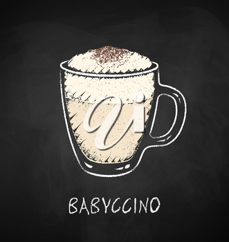 Babyccino cup isolated on black chalkboard background. Vector chalk drawn sideview grunge illustration.