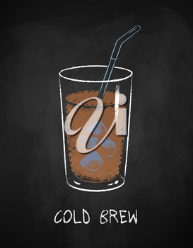 Cold Brew coffee glass isolated on black chalkboard background. Vector chalk drawn sideview grunge illustration.