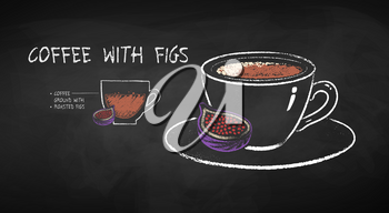 Vector chalk drawn infographic illustration of coffee with figs recipe on chalkboard background.