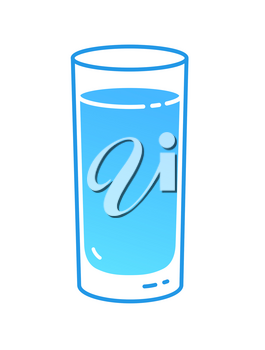 Vector illustration of glass of water. Minimalistic icon isolated on white background.