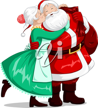 Royalty Free Clipart Image of Santa and Mrs Claus