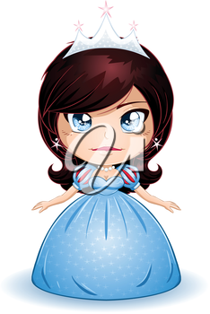 Royalty Free Clipart Image of a Brunette Princess