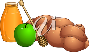 Vector illustration of honey jar apple and chala for rosh hashanah