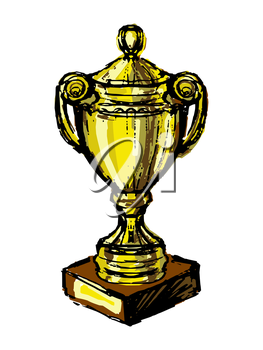 Vector graphic, artistic, stylized image of Trophy cup