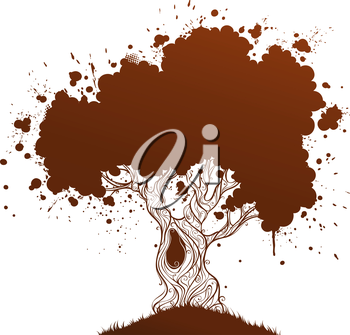 Grunge tree with blobs and place for your text. Duotone illustration.