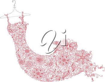 Red dress with linear floral elements and patterns for your design isolated on white background.