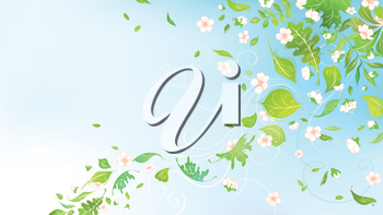 Spring background for your design with  place for your text in the sky.