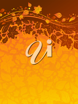 Bright fall background with pattern of leaves and place for text.