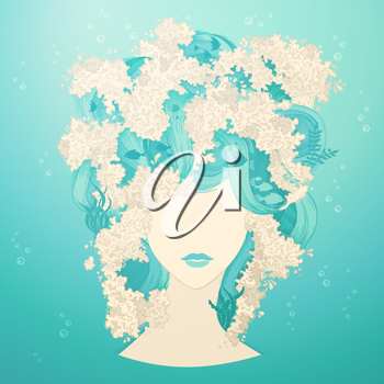 Underwater life in hair. Vector illustration.