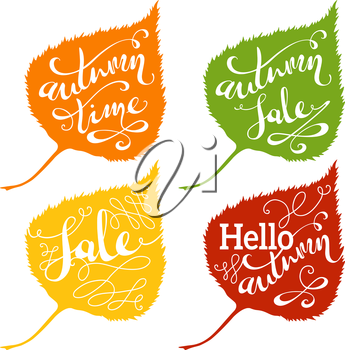 Hand-written words on colourful leaves isolated on white background. Hello Autumn. Autumn Sale. Autumn Time.