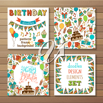 Set of seamless pattern, garland frame, square background, hand-drawn lettering and various design elements on wood background.