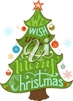 Merry Christmas Lettering in Christmas Tree Silhouette. Hand-written text, holly berry, Christmas balls, snowflakes, star on the top of Christmas tree. Isolated on white background.