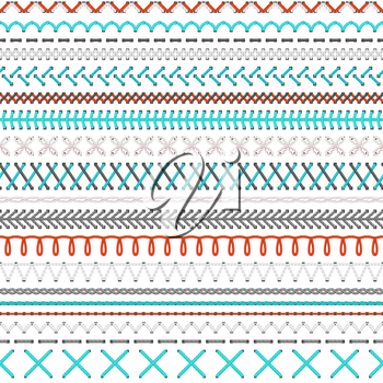 Vector high detailed white, red and blue stitches on white background. Boundless texture.
