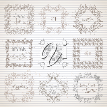 Hand-drawn ornaments, design elements, flourishes, page decorations and dividers on striped vintage paper. Can be used for invitations and congratulations.