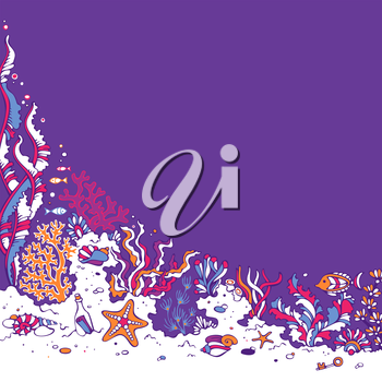 Bright vector illustration. Various shell, algae, fish, starfish, bottle with a letter, key on the bottom. There is place for text on violet ocean background.