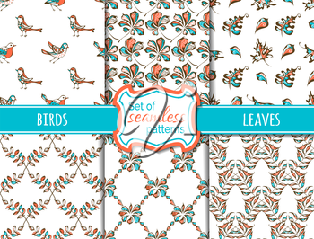 Hand-drawn bright birds and leaves on white background. Maple, rowan, chestnut leaves. Red, blue and white boundless backgrounds.