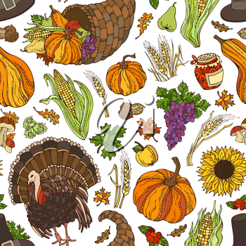 Corn, cornucopia, grape, pilgrim's hat, pumpkin, turkey, wheat, jam, cranberry, autumn leaf, nut, mushroom, sunflower, apple, pear. Boundless harvest background.