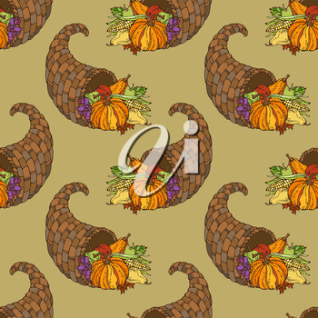 Horn of plenty, pumpkin, autumn leaf, corn, grape, apple and pear. Boundless background for your design. Harvest time.