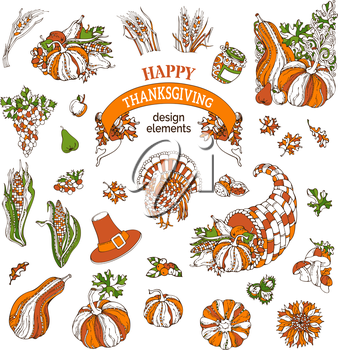 Traditional festive symbols isolated on white background. Turkey, horn of plenty, pilgrim's hat, pumpkin, corn, wheat, sunflower, autumn leaves and others.