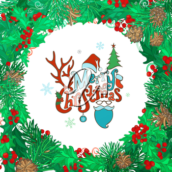 Mistletoes, pine branches and cones. Bright green and red vector illustration. Hand-written festive lettering.