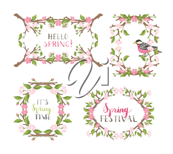 Frames of cherry blossoms, leaves and bird on branches. Handwritten grunge brush lettering. There is copyspace for your text in the center.